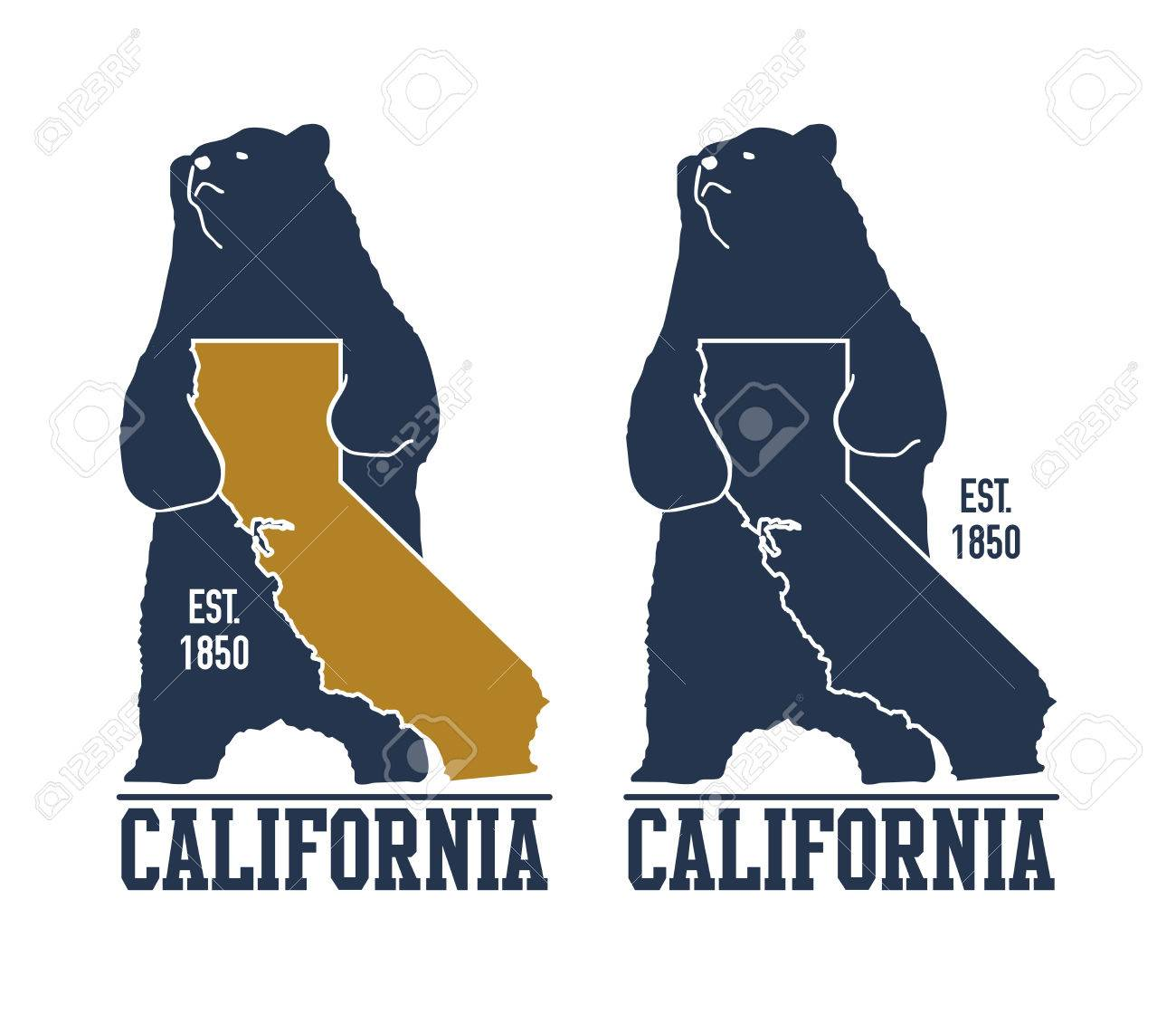 California T Shirt With Grizzly Bear Vector Illustration Stock
