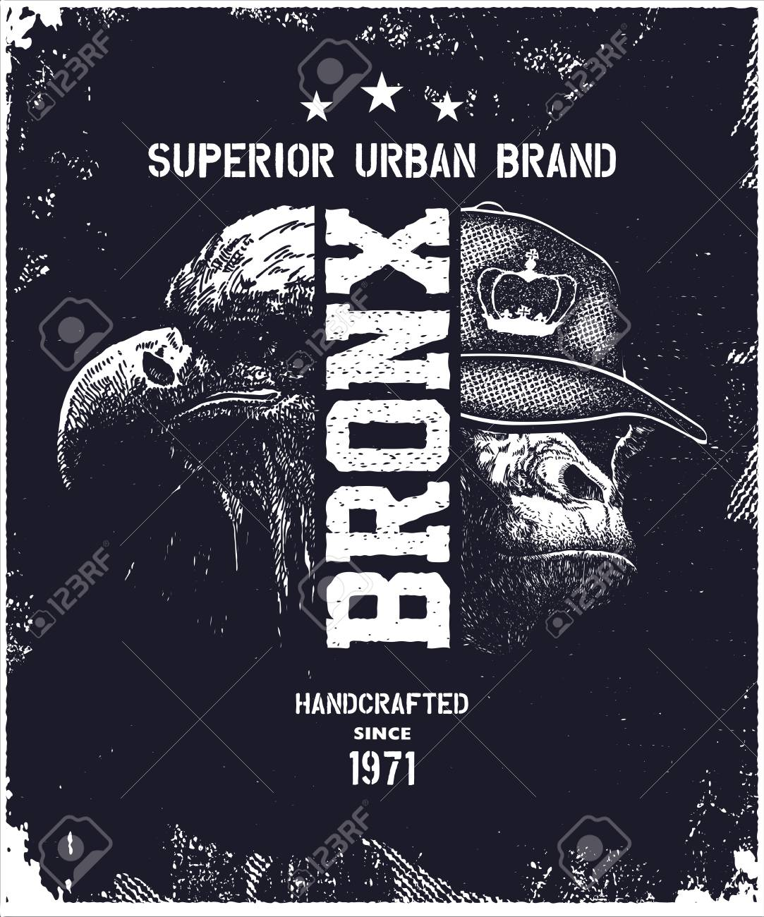 749934100 Vector - Vintage urban typography, t-shirt graphics, vector illustration  with bronx with monkey and eagle