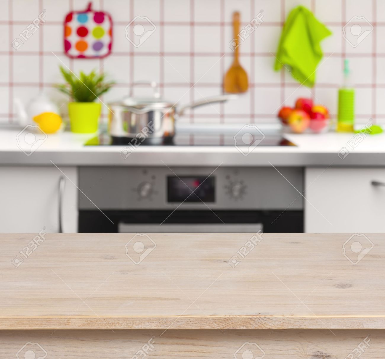 Kitchen Table Top: Wooden Table On Blurred Kitchen Bench Background