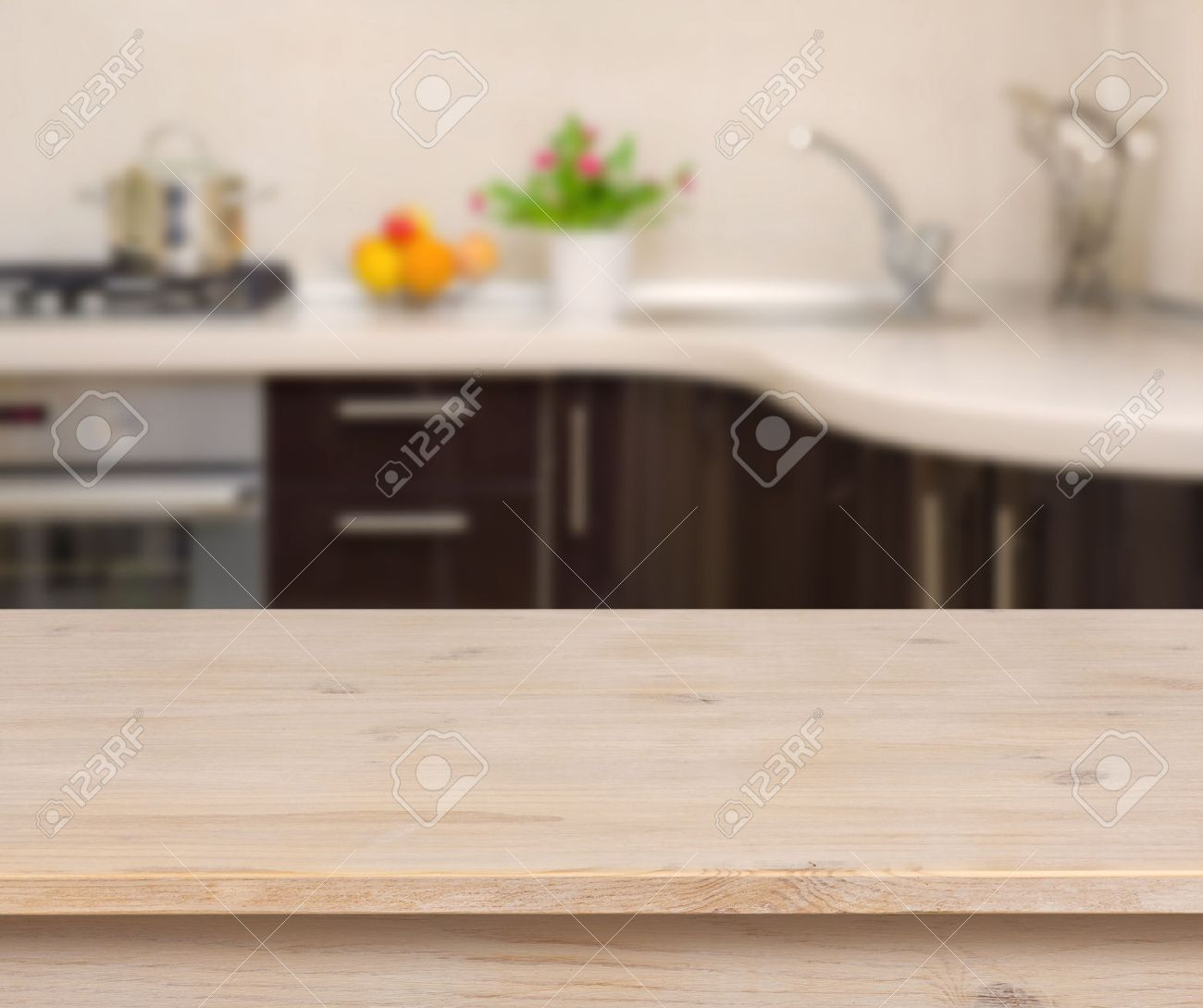 Kitchen Table Background Entrancing Breakfast Table On Kitchen Interior Background Stock Photo Design Inspiration