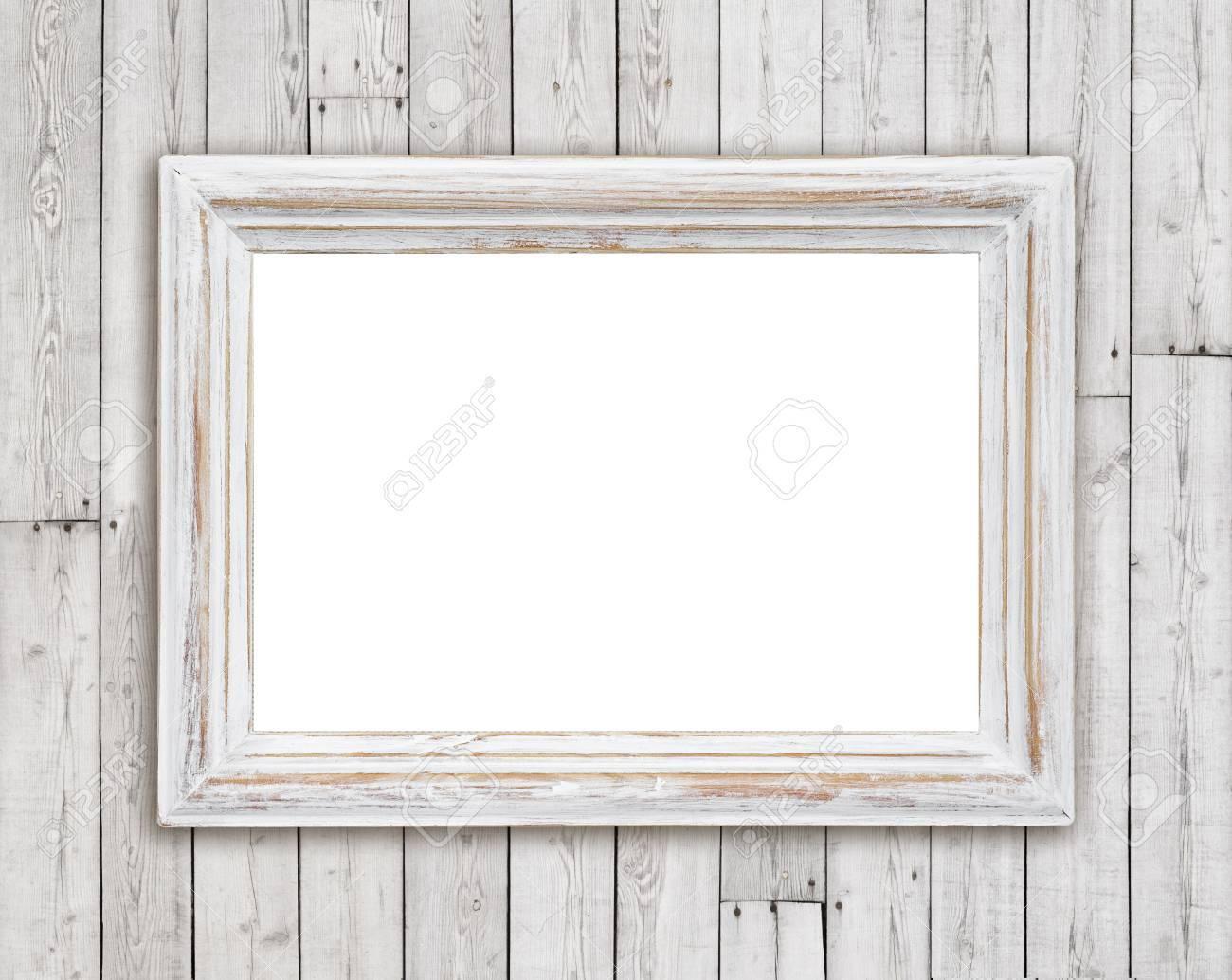 La Plinthe Du Mur blanchis cadre photo en bois sur la planche millésime mur fond