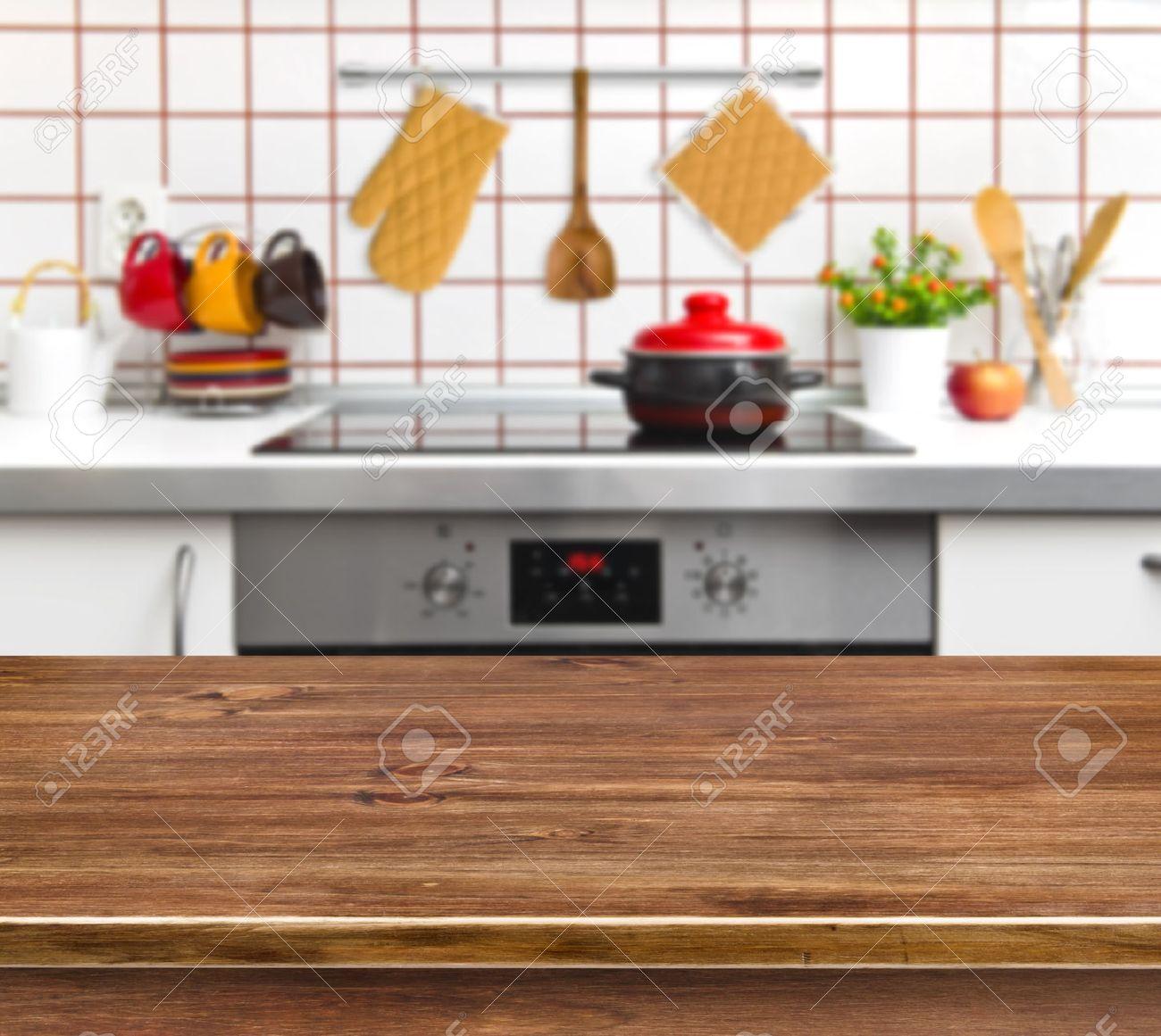 Tavolo Texture In Legno Sulla Cucina Panchina Sfondo Foto Royalty ...