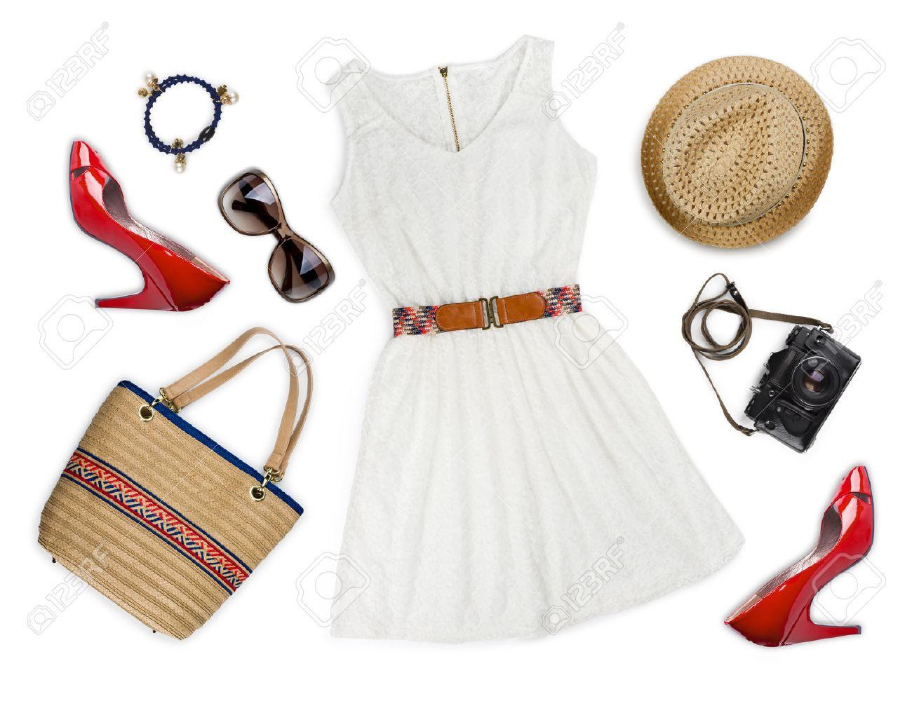 ee2fd667cf5 Collage of tourist clothing and accessories isolated on white Stock Photo -  39538724