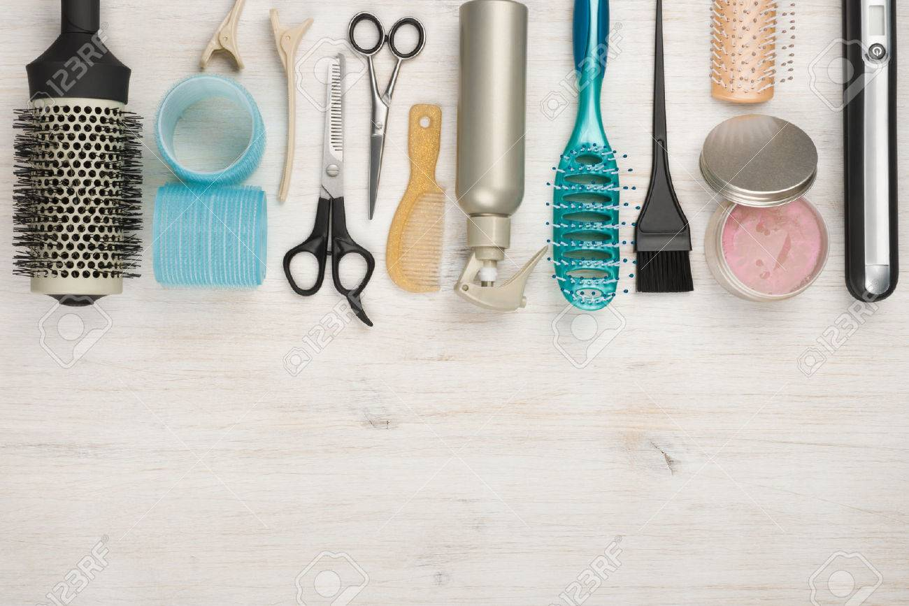 Professional hairdressing tools and accessories with copyspace at the bottom - 51069300