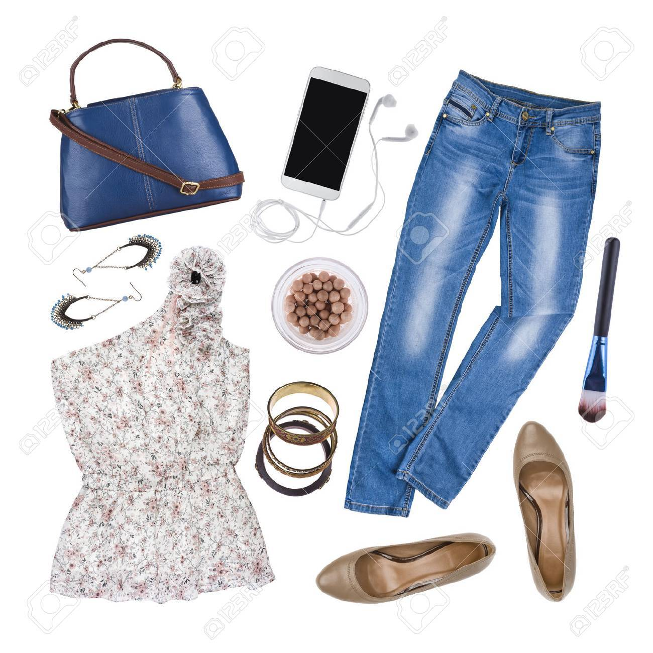 3e299cc2308 Collage of woman summer clothes and accessories isolated on white Stock  Photo - 53799557