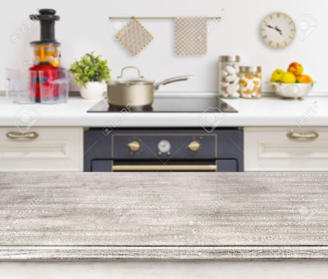 Kitchen Background Wooden Table On Defocused Kitchen Bench With Oven Background Stock