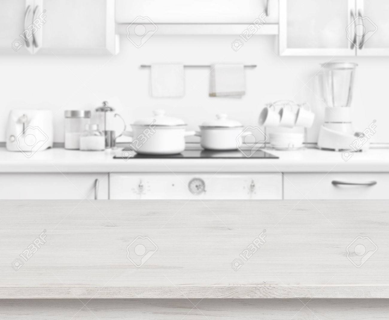 ordinary White Modern Kitchen Table Part - 9: Stock Photo - Wooden table on white modern kitchen interior background,  pastel colors