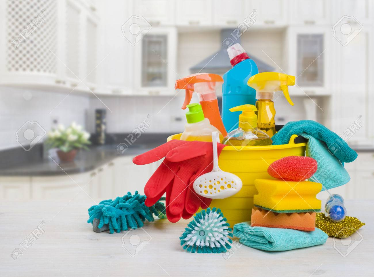 Bowl With Cleaning Products On Table Over Blurred Kitchen Background Stock  Photo   65791162