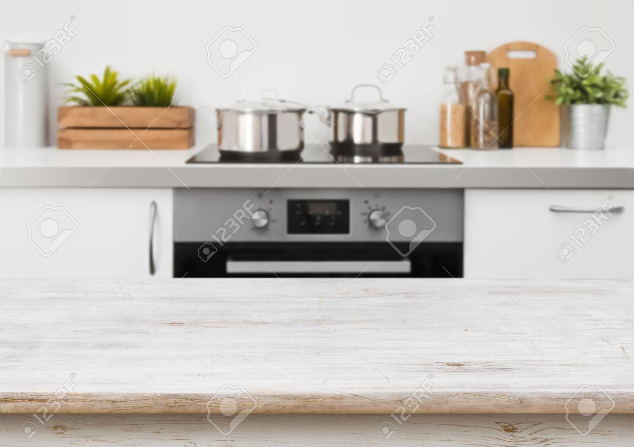 Bleached Wooden Texture Table On Defocused Kitchen Stove Interior  Background Stock Photo   74594303