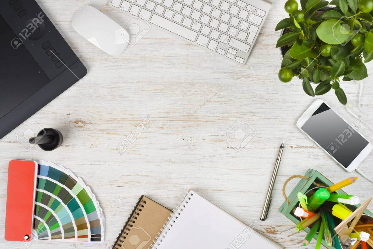 Graphic Designer Desk Essentials Over Wooden Texture Background Stock Photo Picture And Royalty Free Image Image 74594307