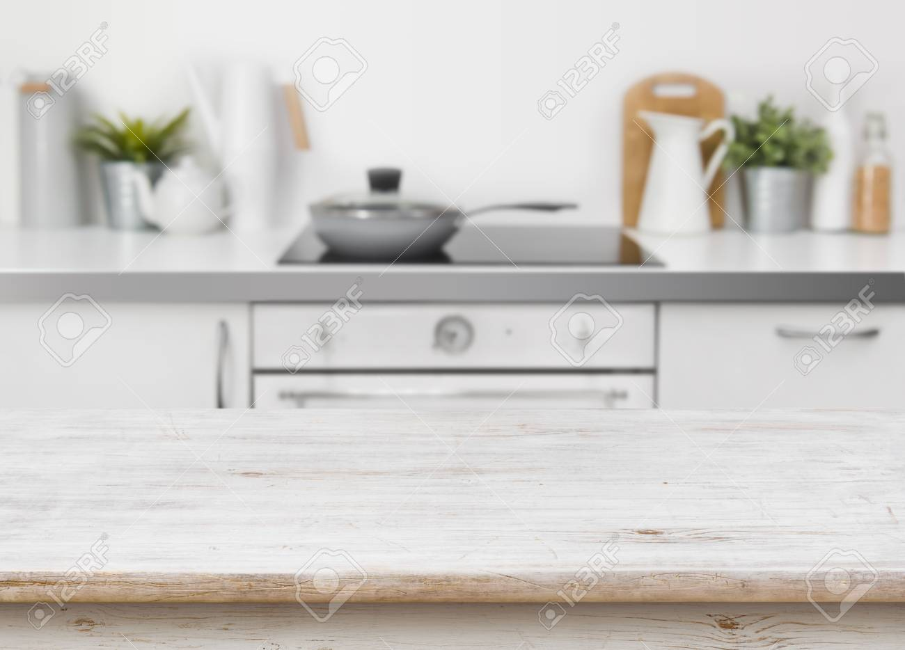 Bleached Wooden Texture Table On Defocused Kitchen Bench Interior  Background Stock Photo   74564652