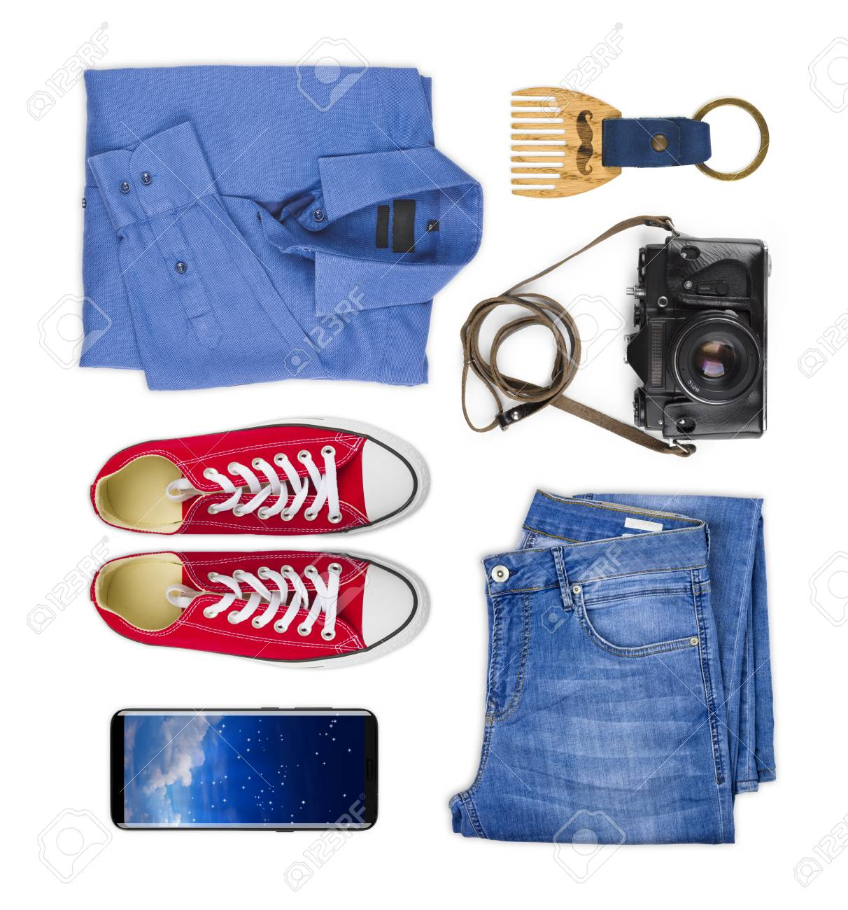 42812b5f50f Collage of traveler clothing and accessories isolated on white background  Stock Photo - 87171578