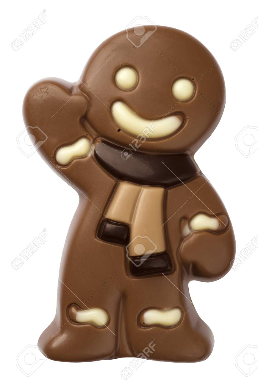 Christmas Gingerbread Man Figure Made From Chocolate Isolated