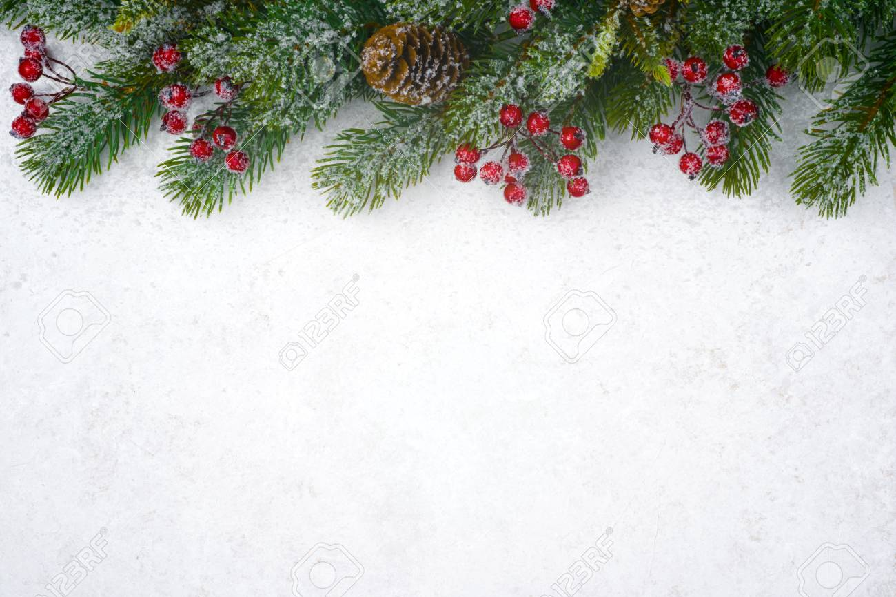 Christmas background design with fir tree, copy space and decor