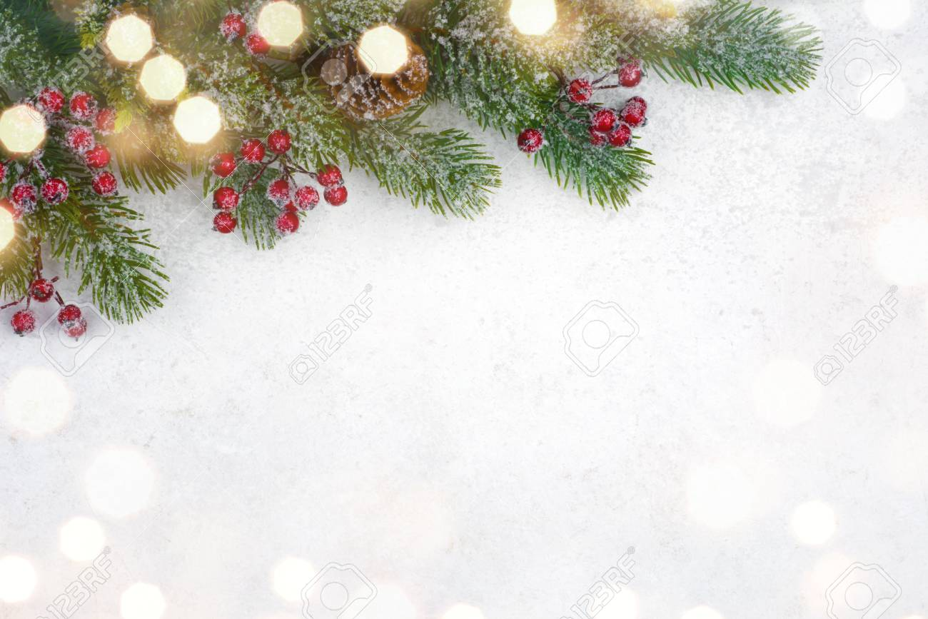 Christmas Background Design.Christmas Background Design With Decorated Fir Tree Branch And