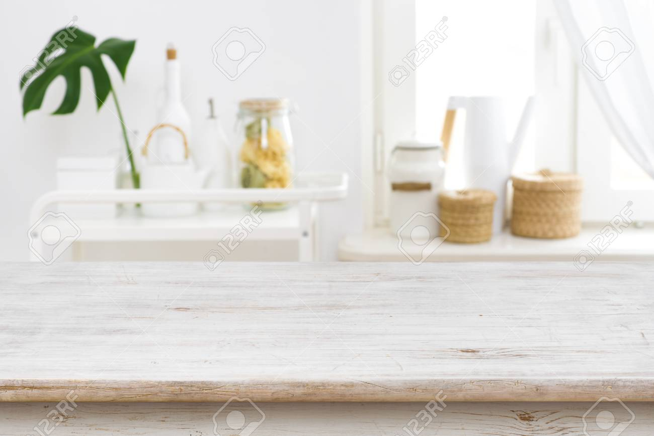 Wooden Table Top On Blurred Kitchen Window And Shelves Stock Photo Picture And Royalty Free Image Image 115239158