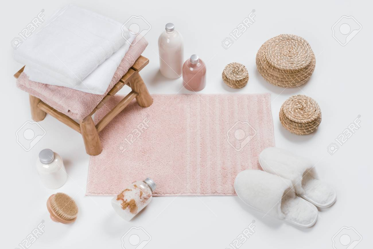 Cool Spa Skincare Accessories With Wooden Stool Soft Carpet And Slippers Theyellowbook Wood Chair Design Ideas Theyellowbookinfo