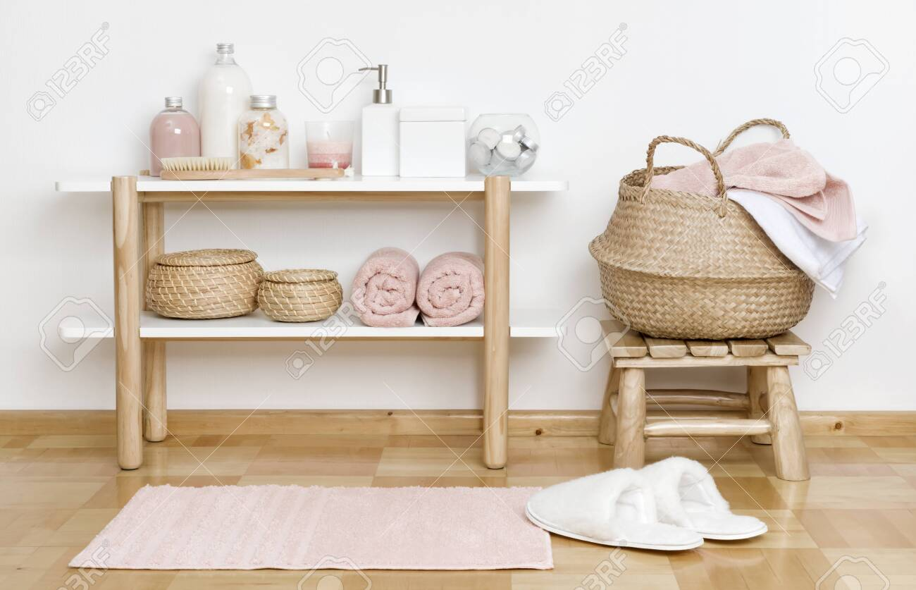 Admirable Bathroom Partial Interior With Wooden Shelf Stool And Spa Products Theyellowbook Wood Chair Design Ideas Theyellowbookinfo
