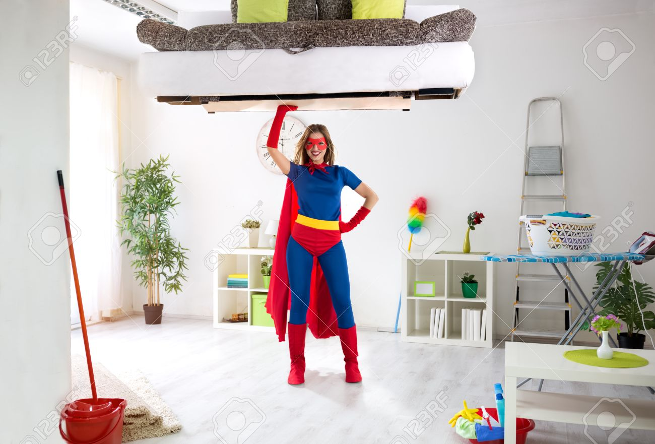 Good Stock Photo   Super Hero Woman Ready For Cleaning House, Housework Concept