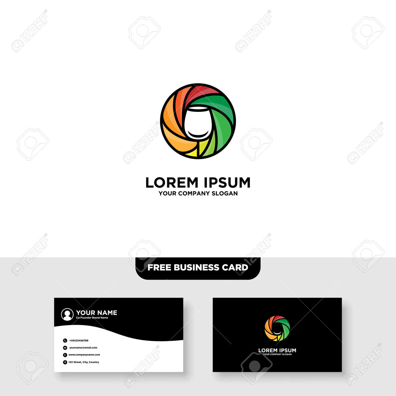 Camera Wine Logo and Business Card Template - 160497497