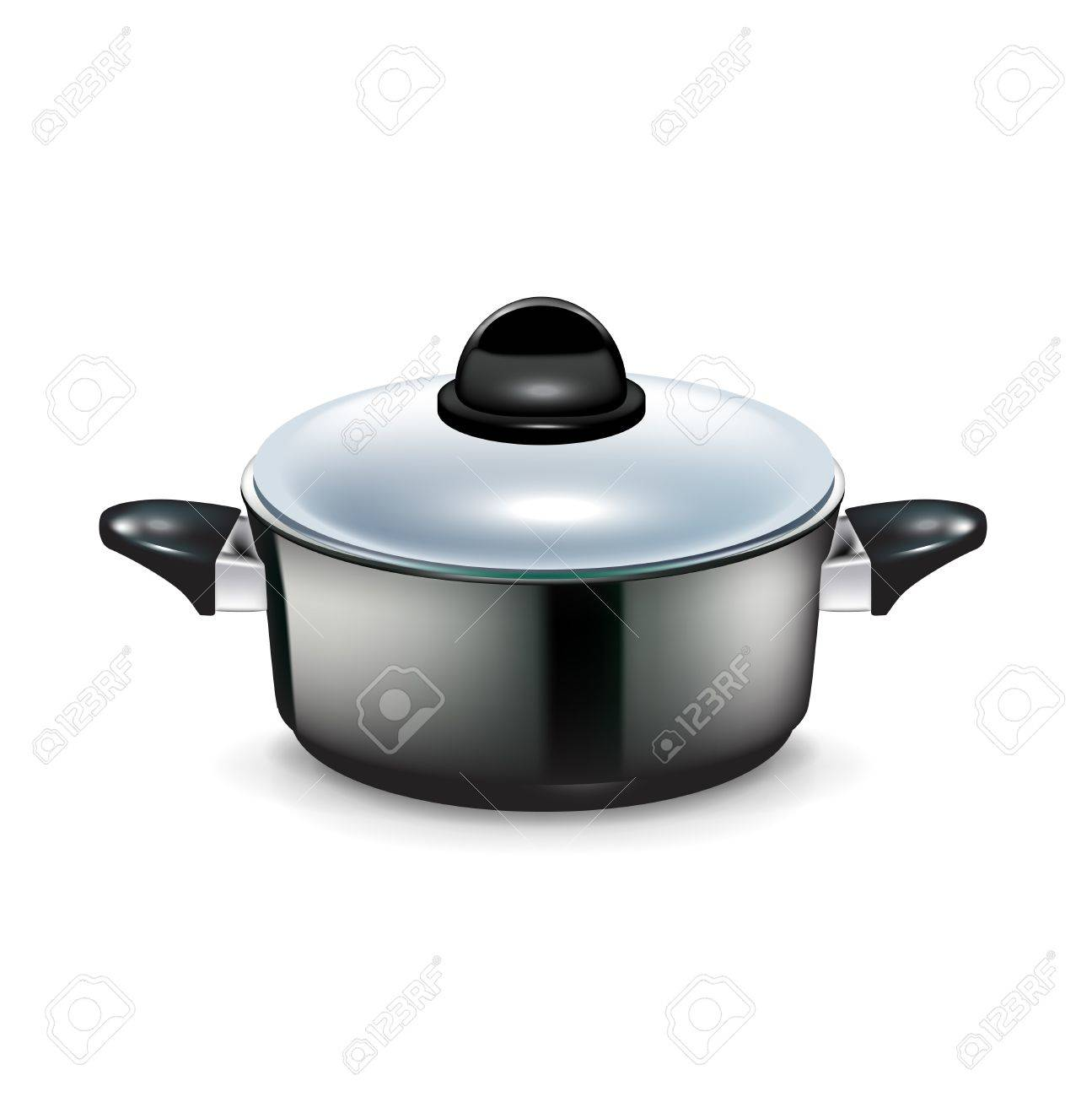 kitchen pot with handles and glass cap isolated on white Stock Vector - 20227199
