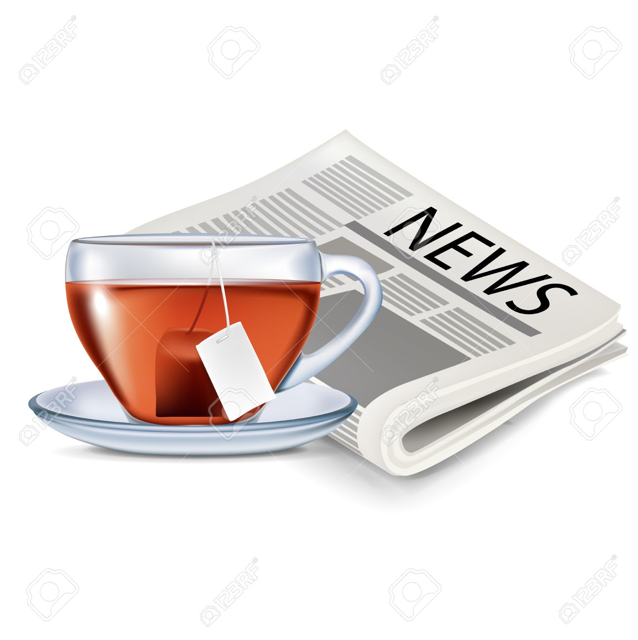 Image result for newspaper and a cup of tea clipart