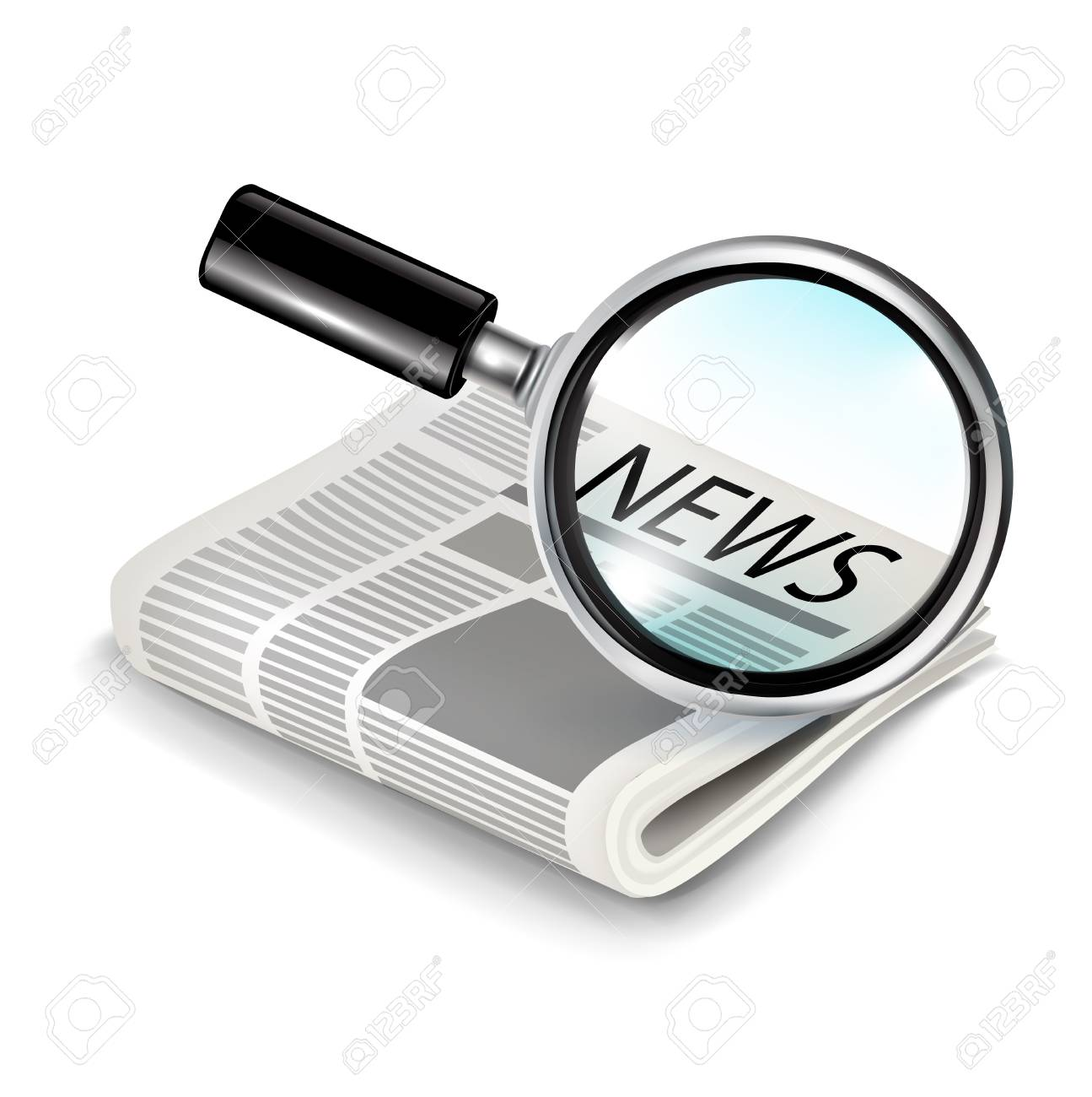 magnifying glass with newspaper isolated Stock Vector - 20227261