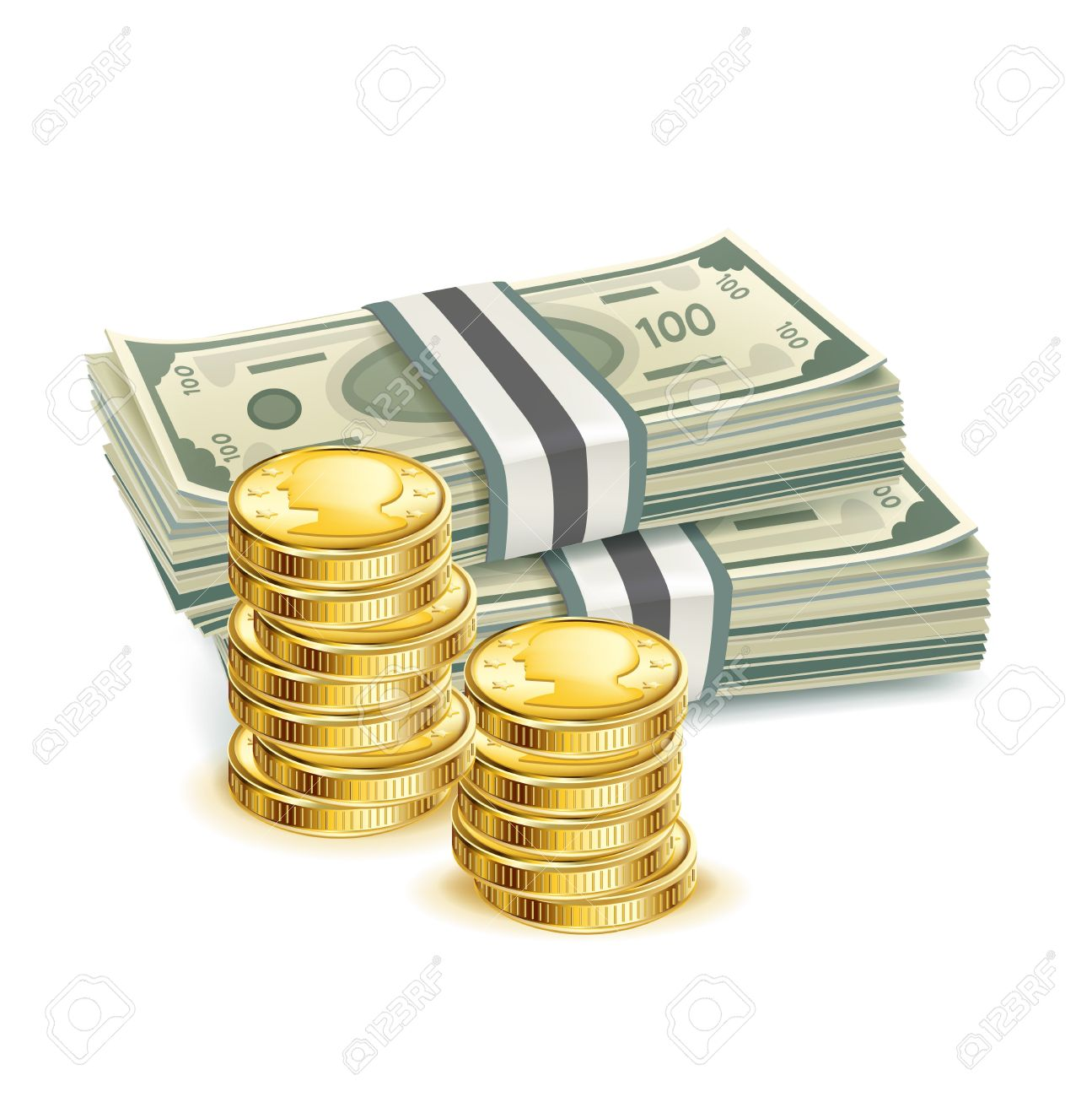 money bills and stack of coins isolated Stock Vector - 20227221