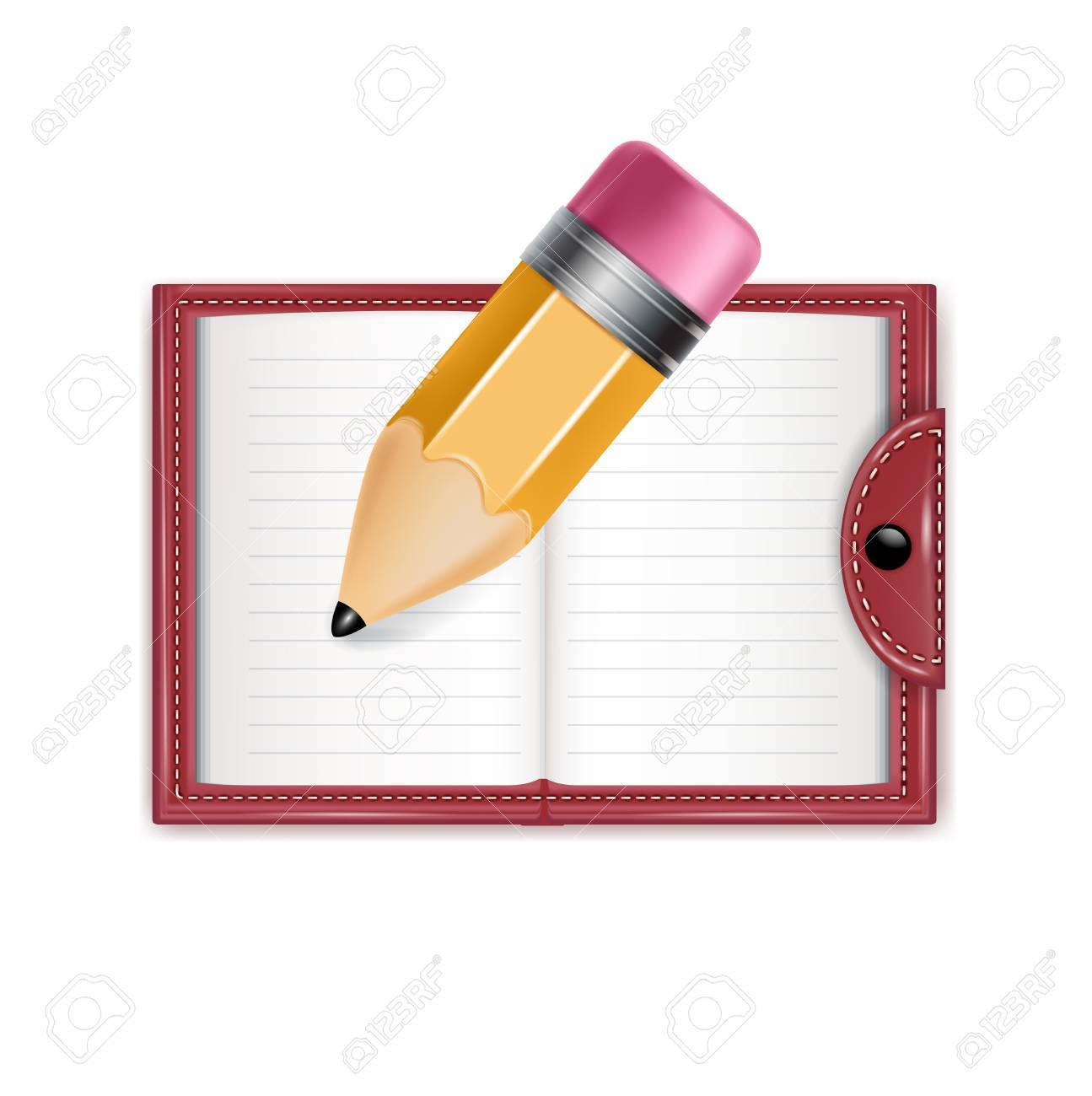 agenda and pencil isolated on white background Stock Vector - 22590305