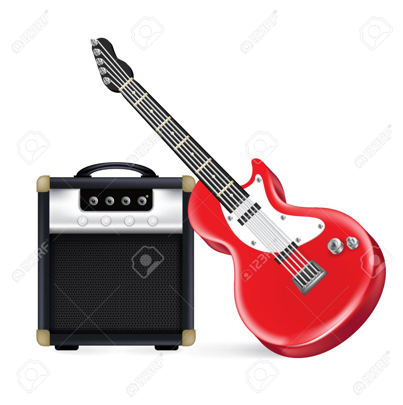Electric Guitar And Amplifier Isolated On White Stock Vector