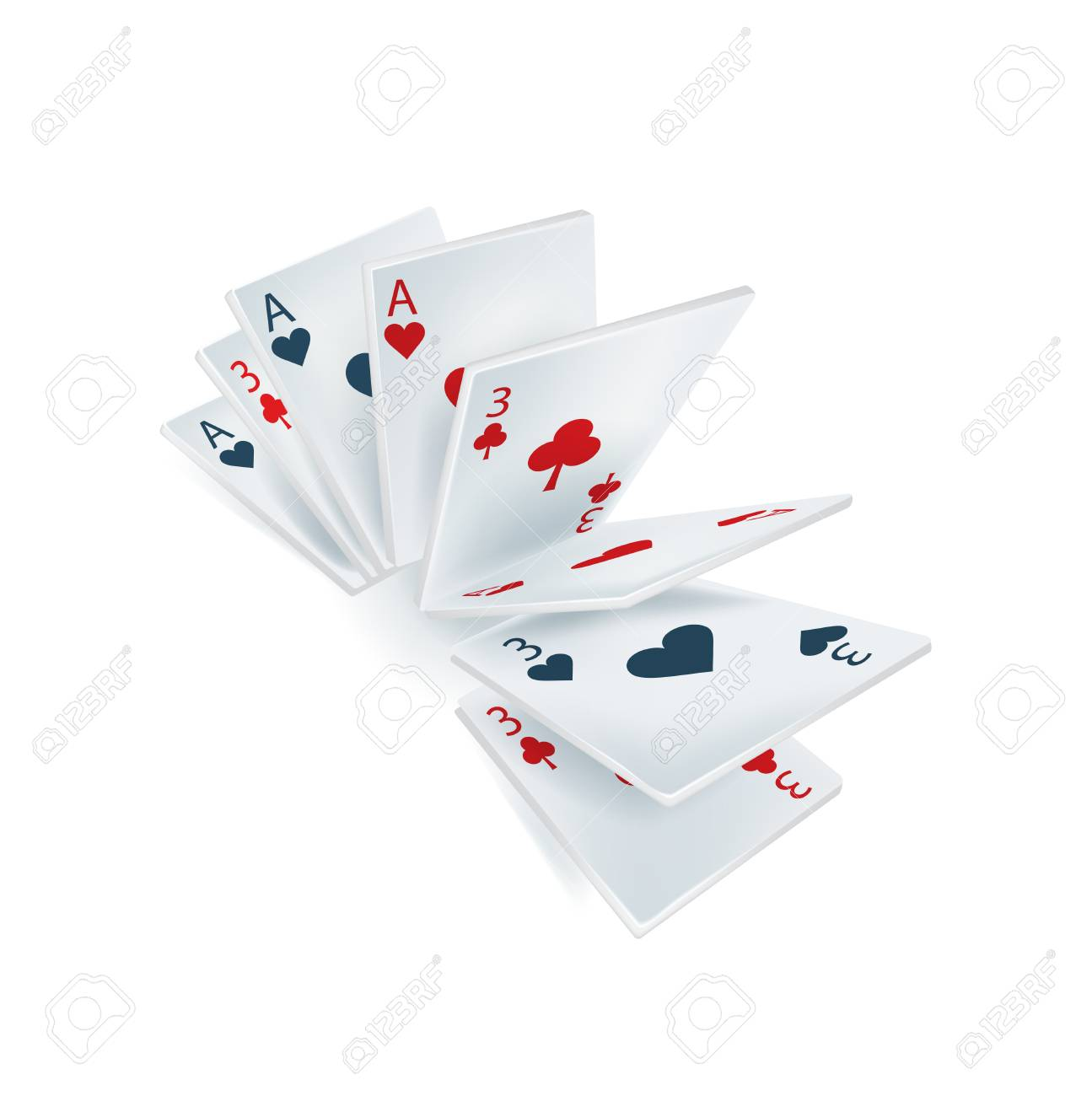 several playing cards isolated on white background Stock Vector - 22750906