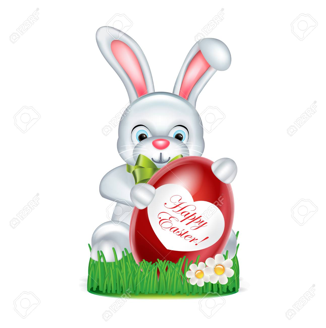 easter bunny with red egg standing on green grass with happy easter message stock vector
