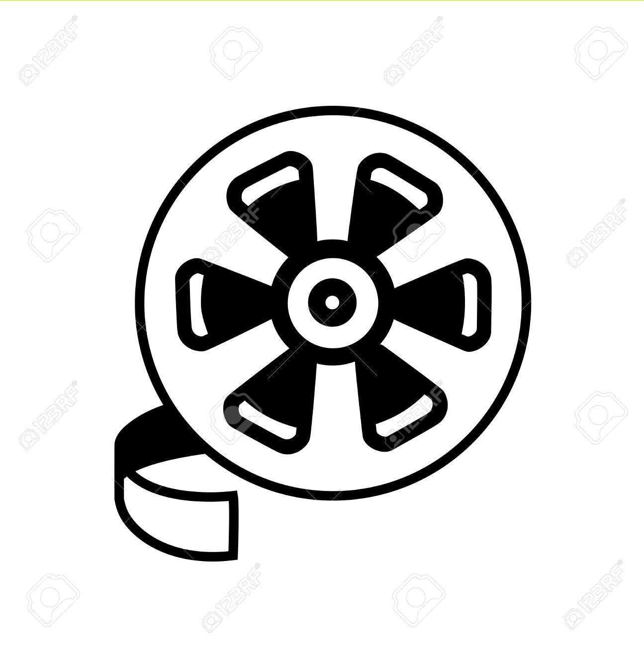 Movie Reel Line Icon Vector Black And White Royalty Free Cliparts