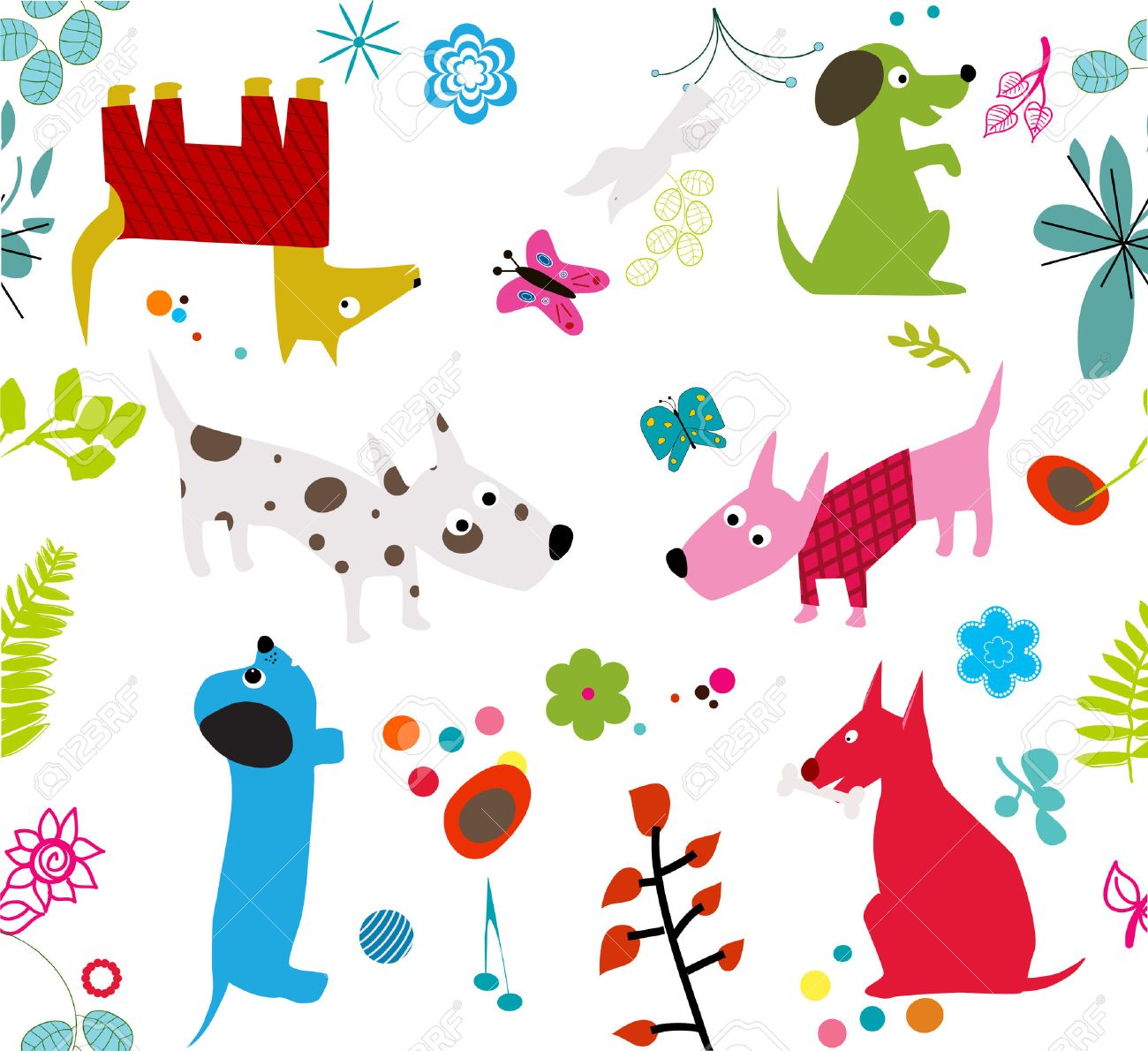 cute dogs wallpaper -seamless- royalty free cliparts, vectors, and