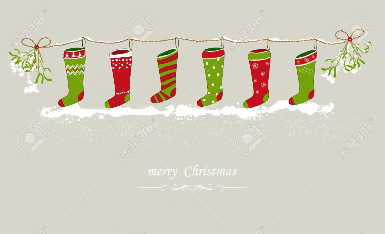 Christmas Stockings Hanging On A Festive Line Royalty Free ...