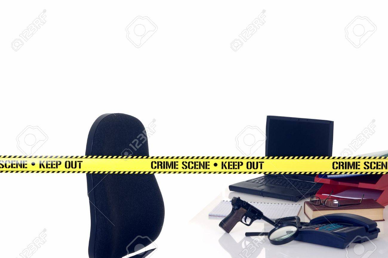 CSI office crime scene, weapon in foreground, white background, studio shot. Stock Photo - 2813601