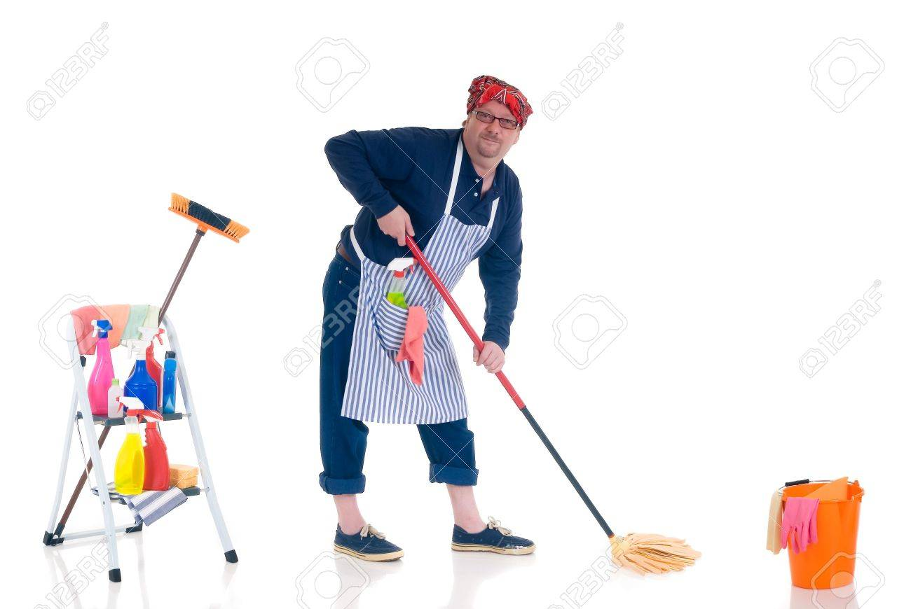 houseman the new man attending to daily household stock photo