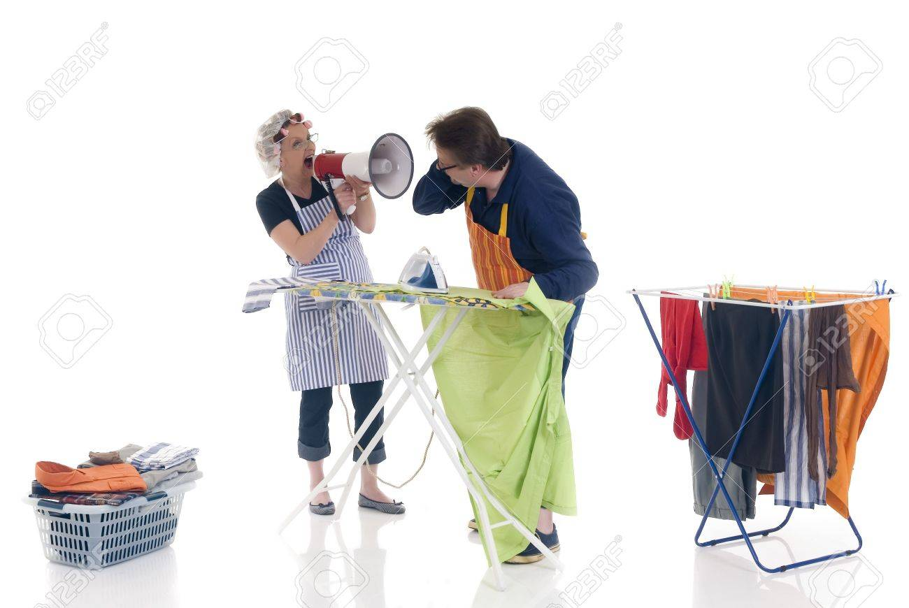 houseman ironing being shouted at by wife stock photo picture