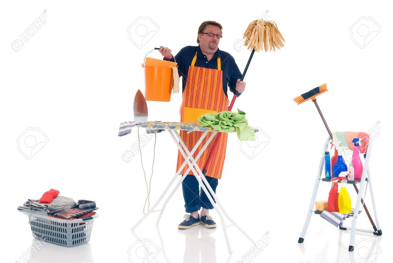 houseman with cleansing tools doing household cleaning and