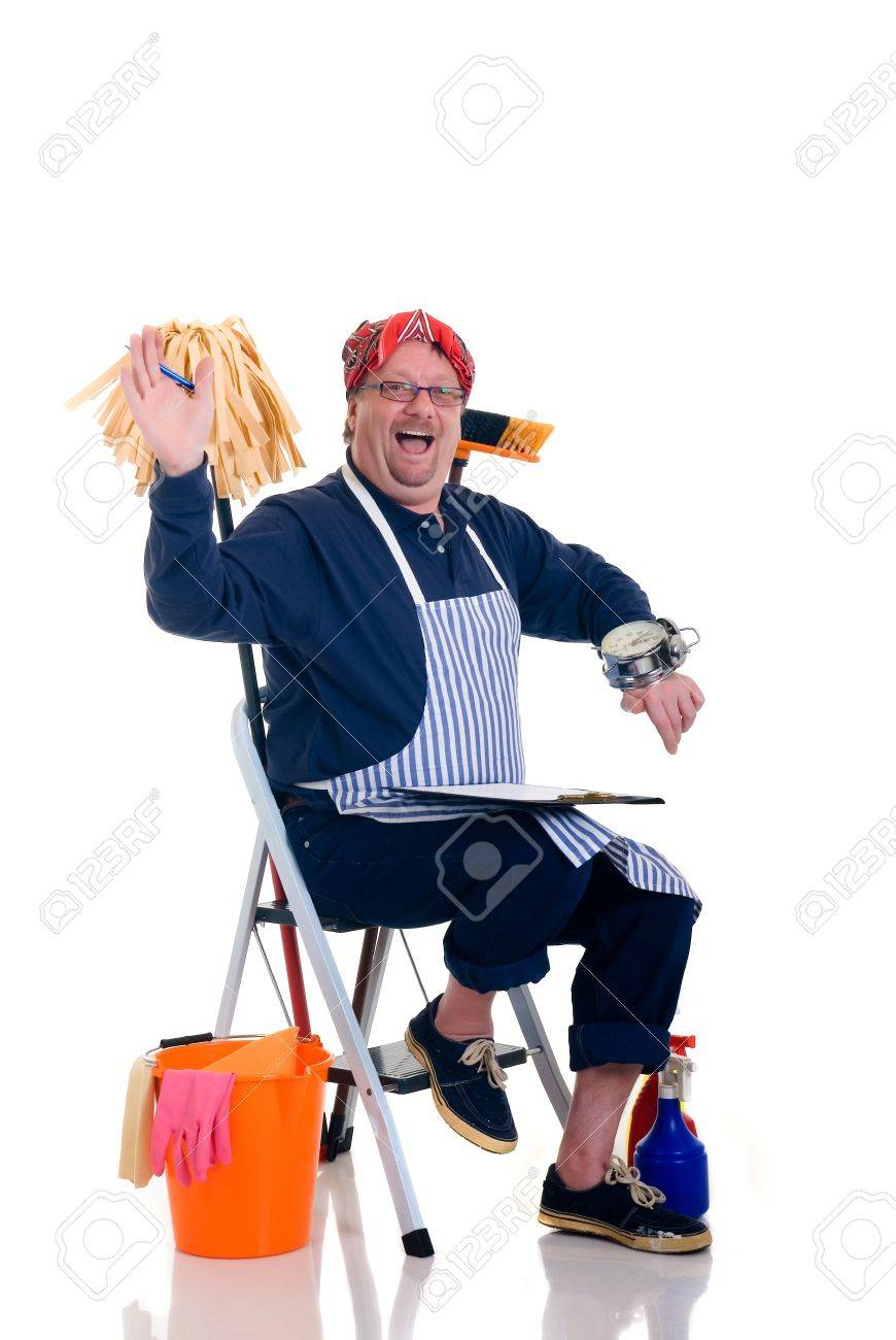 houseman sitting on ladder with cleaning products for daily