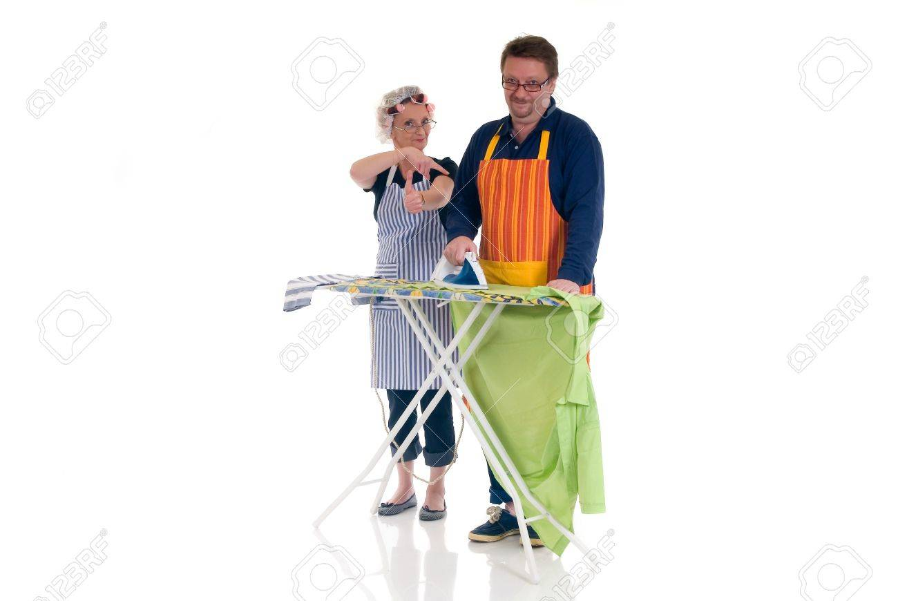 houseman with ironing board housewife thumbs up daily household