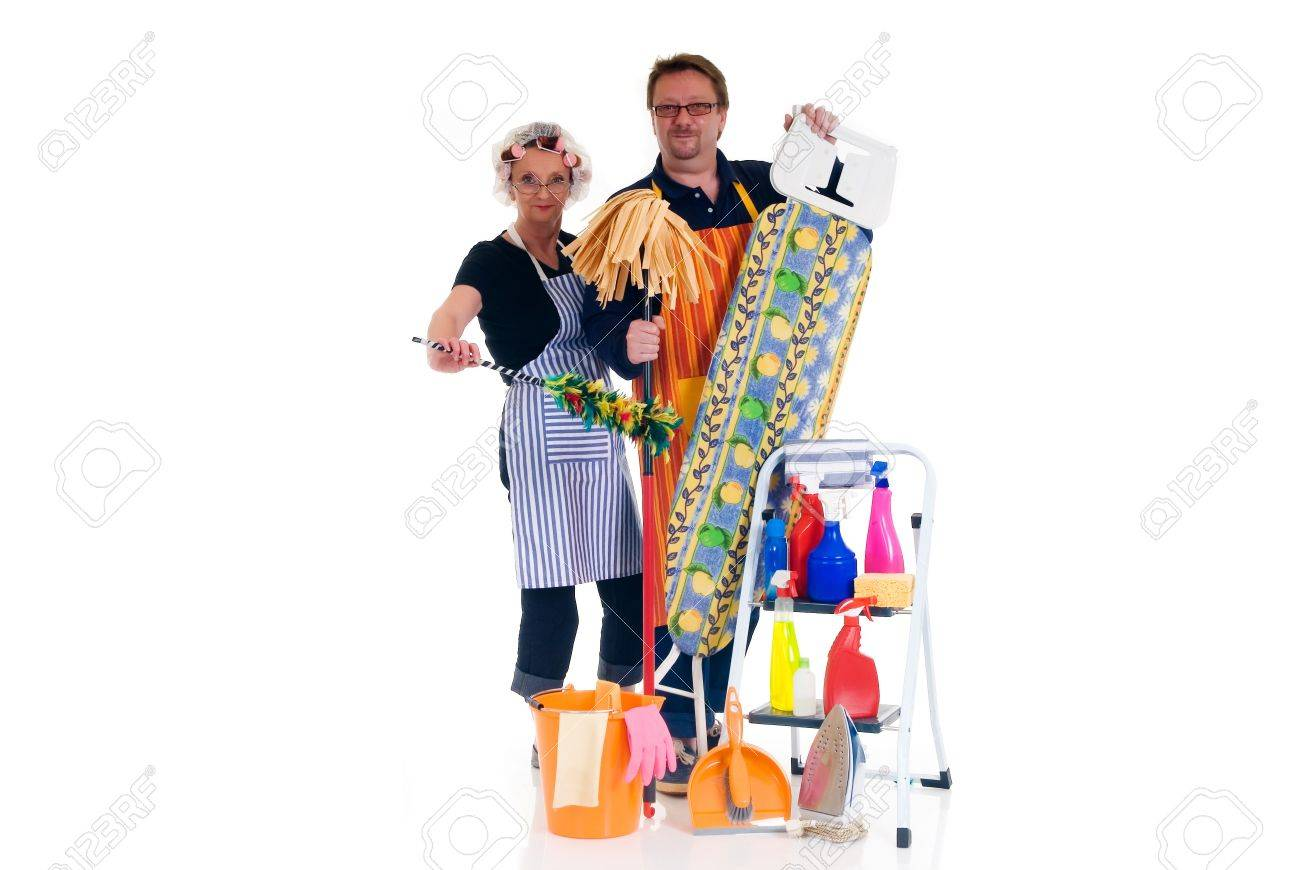 houseman and housewife with ironing board and ladder with cleaning