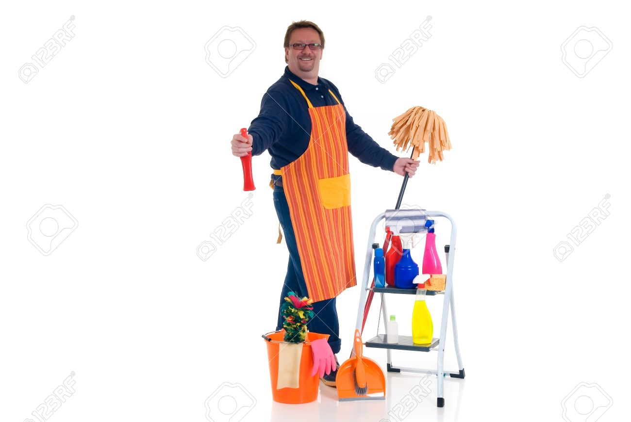 houseman the new man ladder with cleaning products for daily