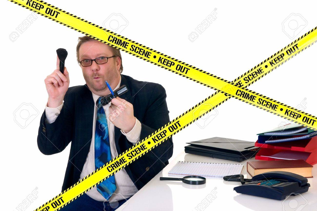 CSI investigator researching office crime scene, taking fingerprints, weapon in foreground, white background, studio shot. Stock Photo - 4739846