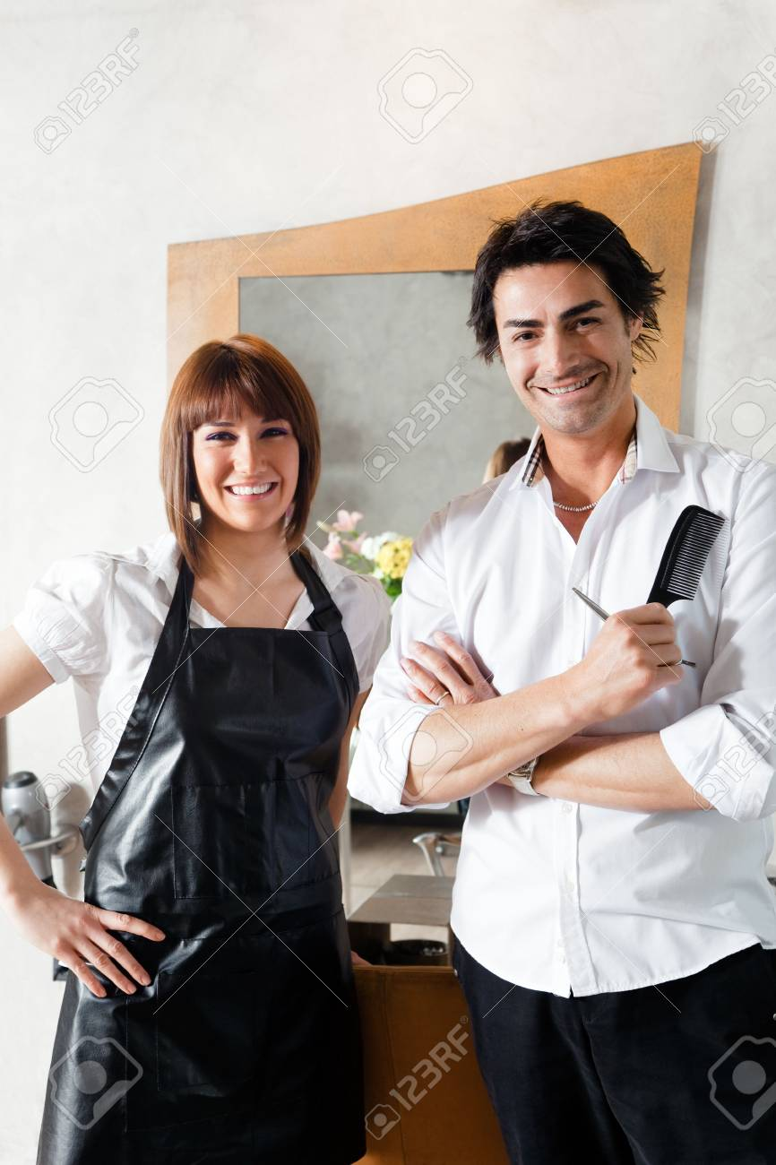 portrait of two hairstylists looking at camera Stock Photo - 4669286
