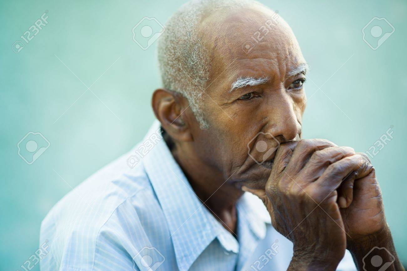 Incredible Seniors Portrait Of Contemplative Old African American Man Looking Hairstyles For Women Draintrainus