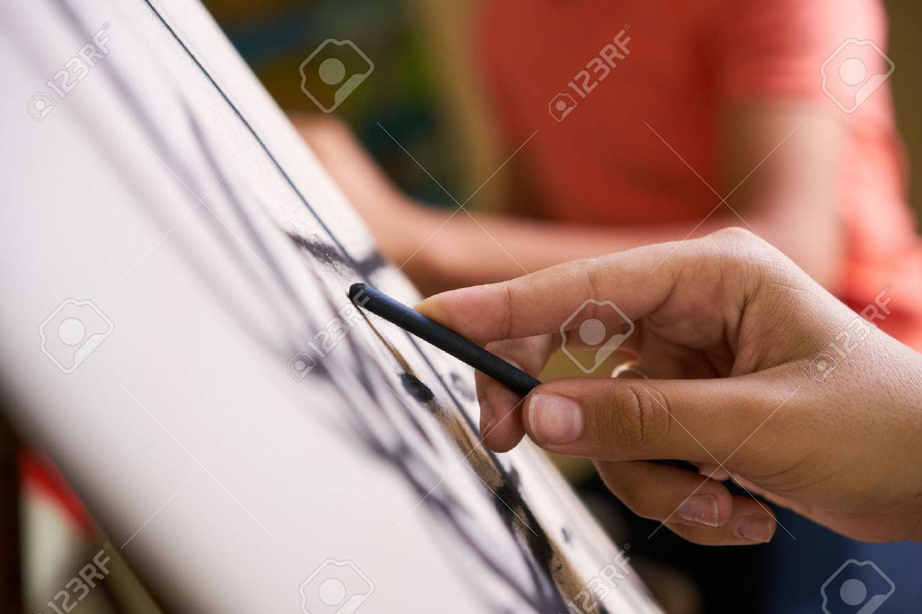 School of art, college of arts, education for group of young students. Man sketching for fun, student drawing for hobby. Close up of hand - 72829567