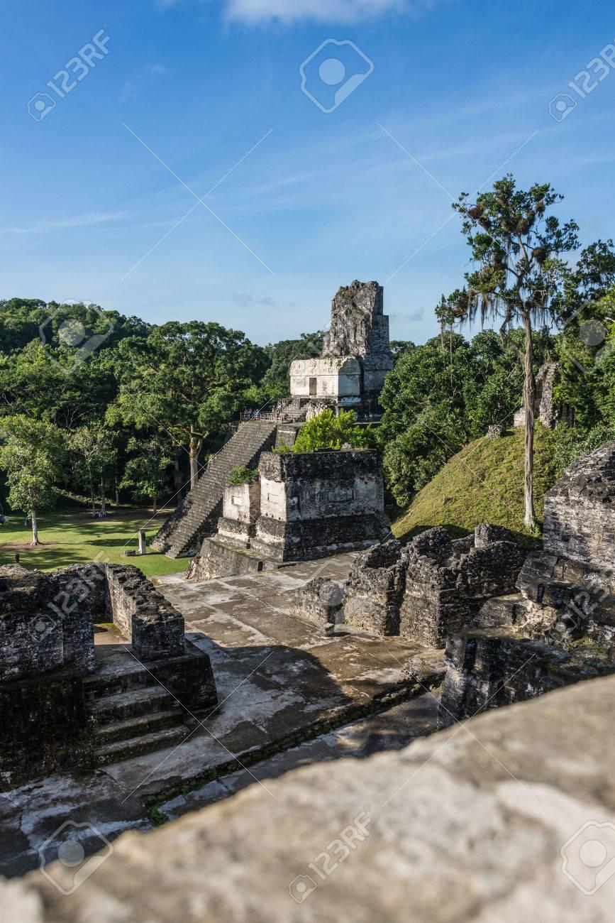 ティカル ジャングルでマヤの歴史的な建物のビュー。グアテマラ。 の ...