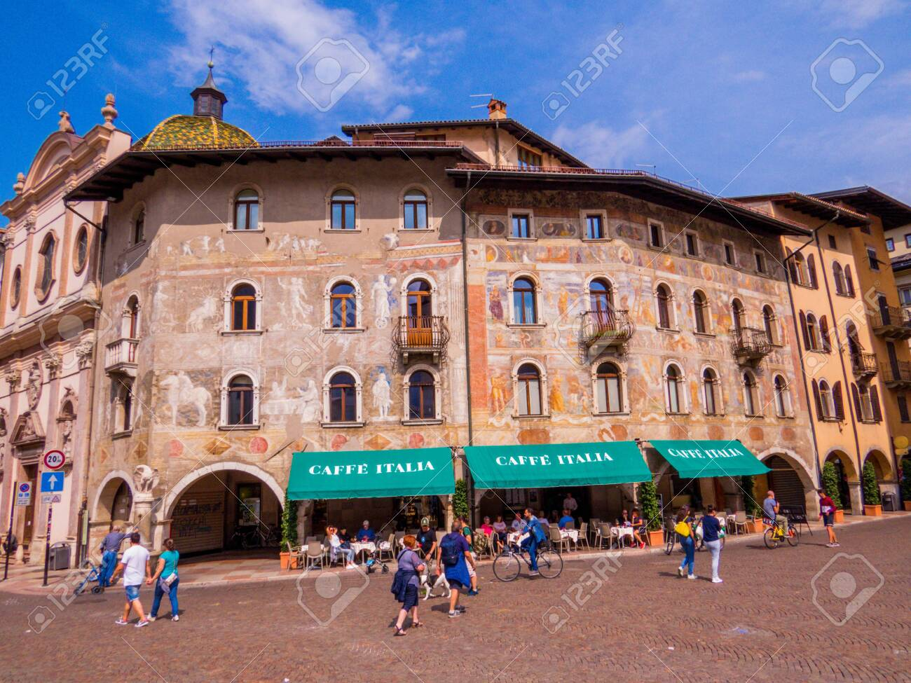 """TRENTO, ITALY - AUGUST 30, 2018: View of the Piazza Duomo and the """"Caffe Italia"""". - 151821163"""