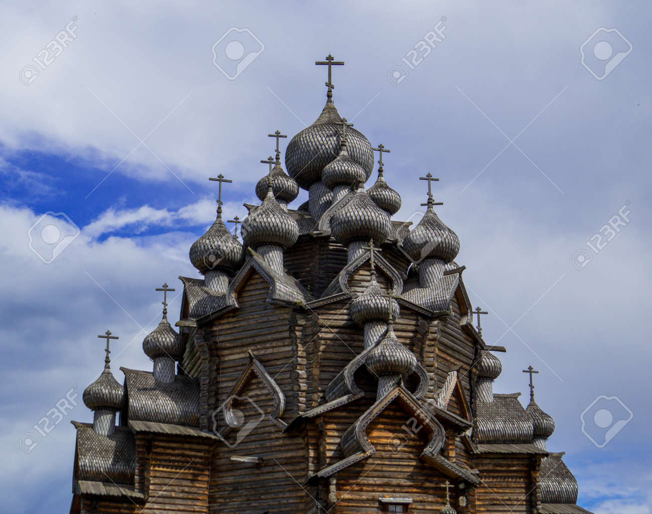 View of the wooden Church of the Intercession of the Holy Virgin in St. Petersburg, Russia - 151391707